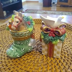 Fitz and Floyd Christmas salt and pepper shakers